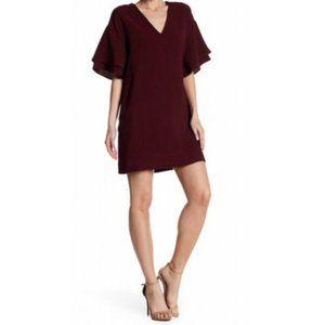 Lush Ruffled Sleeve Burgundy Shift Mini Dress M